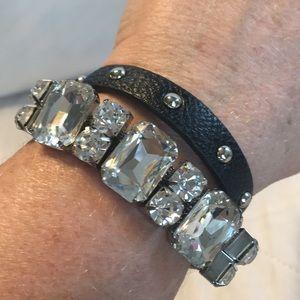 NWOT Black Faux Leather Glass Crystal Bracelet